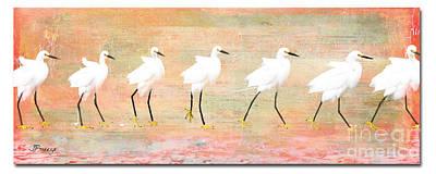 Egrets Flamingoed Print by Jennie Breeze