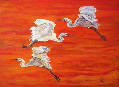 Black Bird.flying Art Painting - Egrets In Flight by Ella Kaye Dickey