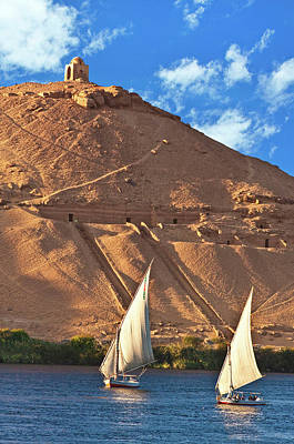 Egypt, Aswan, Nile River, Felucca Print by Miva Stock