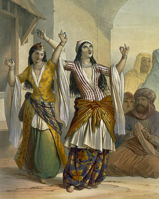Necklace Drawing - Egyptian Dancing Girls Performing by Emile Prisse d'Avennes