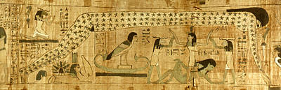 Papyrus Painting - Egyptian Funerary Papyrus Illustrating by Granger
