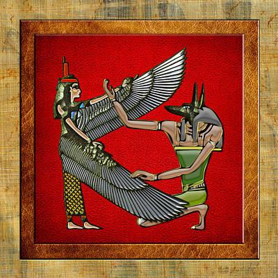 Goddess Mythology Digital Art - Egyptian Gods Anubis And Nut by Serge Averbukh