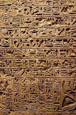 Hieroglyphs Photograph - Egyptian Hieroglyphs. by Mark Williamson