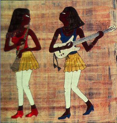 Papyrus Painting - Egyptian Musicians by Karen Buford