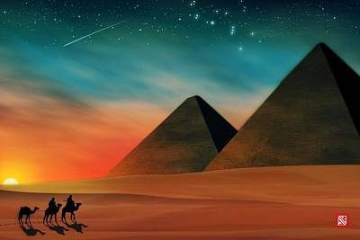 Camel Digital Art - Egyptian Pyramids by John Wills