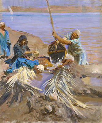 Raising Painting - Egyptians Raising Water From The Nile by John Singer Sargent