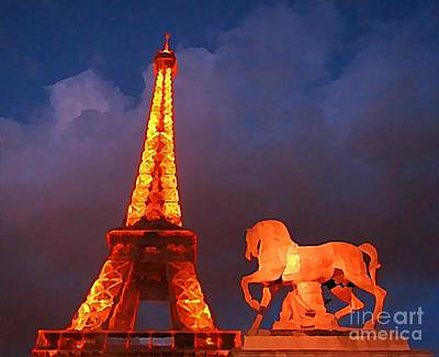 Eiffel Tower And Horse Print by John Malone