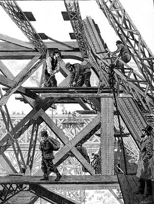 Eiffel Tower Being Constructed Print by Collection Abecasis