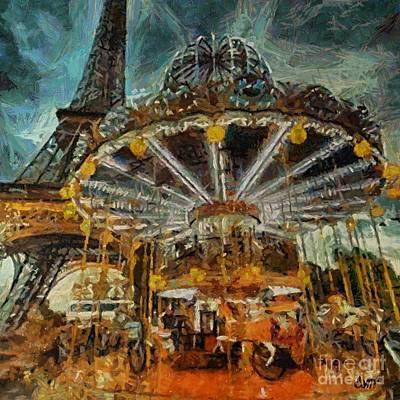 Paris Painting - Eiffel Tower Carousel by Dragica  Micki Fortuna