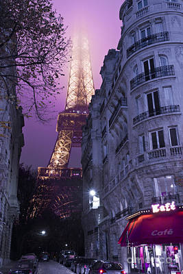 European Cafe Photograph - Eiffel Tower From A Side Street by Simon Kayne