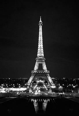 Eiffel Tower In Black And White Print by Heidi Hermes
