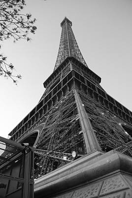 Eiffel Tower In Black And White Print by Jennifer Ancker