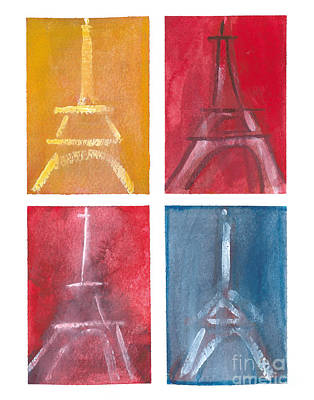 Eiffel Tower Paintings Of 4 Up Print by Robyn Saunders