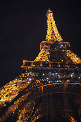 Eiffel Tower Paris France Illuminated Print by Patricia Awapara
