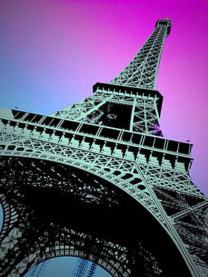 Eiffel Tower Paris Pink Print by Mark J Dunn