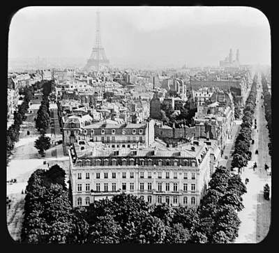 Print featuring the photograph Eiffel Tower Paris Rooftops1903 by A Gurmankin