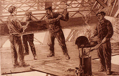 Eiffel Tower Riveters 1889 Print by Granger