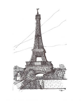 Eiffel Tower Drawing - Eiffel Tower by Ron Torborg