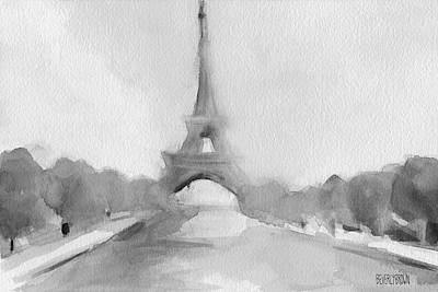 Eiffel Tower Watercolor Painting - Black And White Print by Beverly Brown