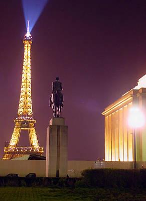 Eiffel Tower With A Monument Print by Mieczyslaw Rudek Mietko