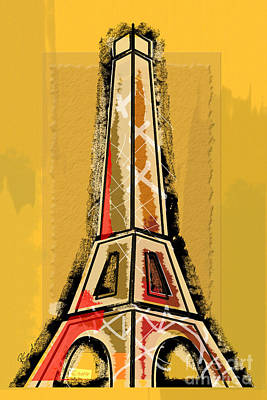Eiffel Tower Yellow And Red Print by Robyn Saunders