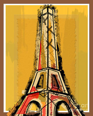 Ink Painting - Eiffel Tower Yellow Black And Red by Robyn Saunders
