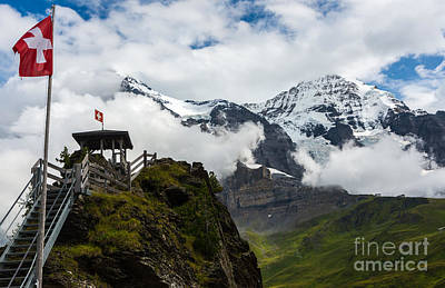 Eiger And Monk In The Clouds - Swiss Alps Print by Gary Whitton
