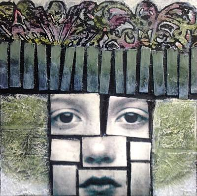 Mixed Media - Eight By Eight Verde by Susan McCarrell