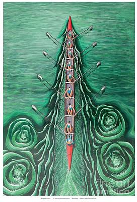 Scull Painting - Eight Oars By O4rsom. Rowing Sport Of Champions by Tonia Williams