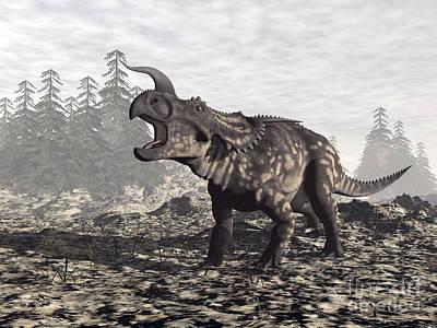 Anger Digital Art - Einiosaurus Dinosaur Roaring In Nature by Elena Duvernay