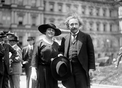 Einstein And His Second Wife Elsa Print by Library Of Congress