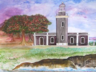 Flamboyan Tree Painting - El Faro De Cabo Rojo by Rosienid Pere