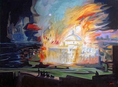 Capitol Building Painting - El Incendio Del Capitolio De Puerto Rico by Ben  Morales-Correa