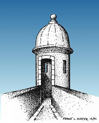 Castillo San Felipe Del Morro Digital Art - El Morro Guard Tower San Juan Puerto Rico by Frank Hunter