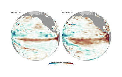 Comparison Photograph - El Nino Comparison by Nasa/jpl Ocean Surface Topography Team