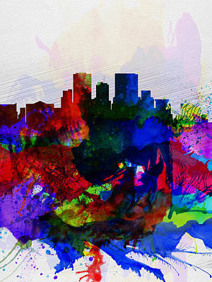 Capital Cities Painting - El Paseo Watercolor Skyline by Naxart Studio