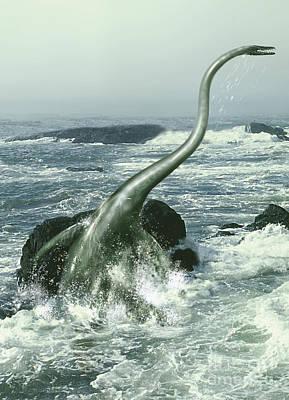 Anger Digital Art - Elasmosaurus In Rough Waters by Jan Sovak