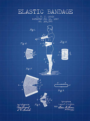 Elastic Bandage Patent From 1887 - Blueprint Print by Aged Pixel