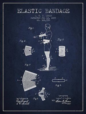 Elastic Drawing - Elastic Bandage Patent From 1887 - Navy Blue by Aged Pixel