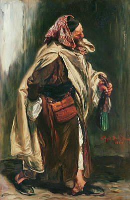 Arabia Photograph - Elderly Moroccan Jew, 1867 Oil On Canvas by Alfred Dehodencq