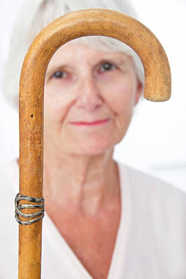 Elderly Woman And Walking Stick Print by Lea Paterson