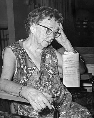 Elderly Woman At Hospital Print by Underwood Archives