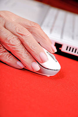 Elderly Woman Using A Computer Mouse Print by Aj Photo