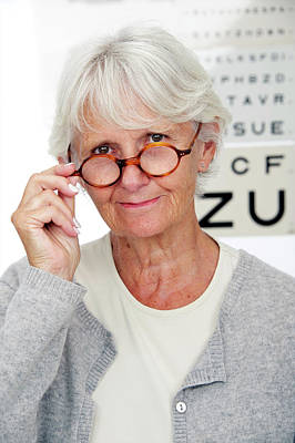 Optometry Photograph - Elderly Woman Wearing Glasses by Lea Paterson