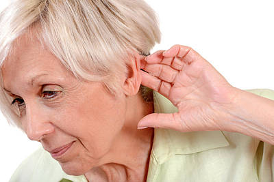 Elderly Woman With Hearing Loss Print by Aj Photo