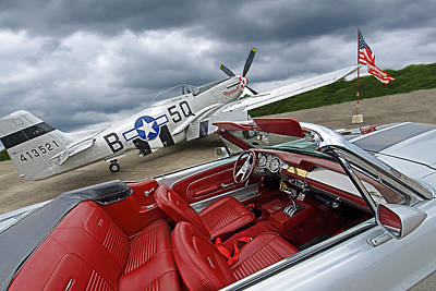 Eleanor Cockpit With P51 Mustang Print by Gill Billington