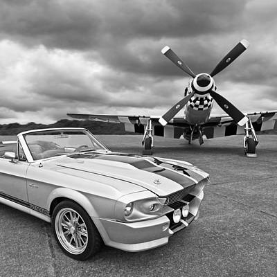 Eleanor Mustang With P51 Black And White Print by Gill Billington