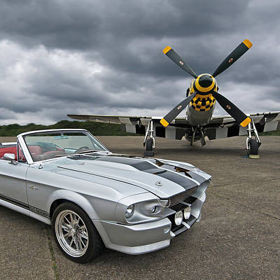 Eleanor Mustang With P51 Print by Gill Billington