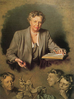 Franklin Roosevelt Painting - Eleanor Roosevelt, First Lady by Science Source