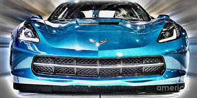 Automobile Photograph - Electric Blue Corvette Panoramic by Tom Gari Gallery-Three-Photography